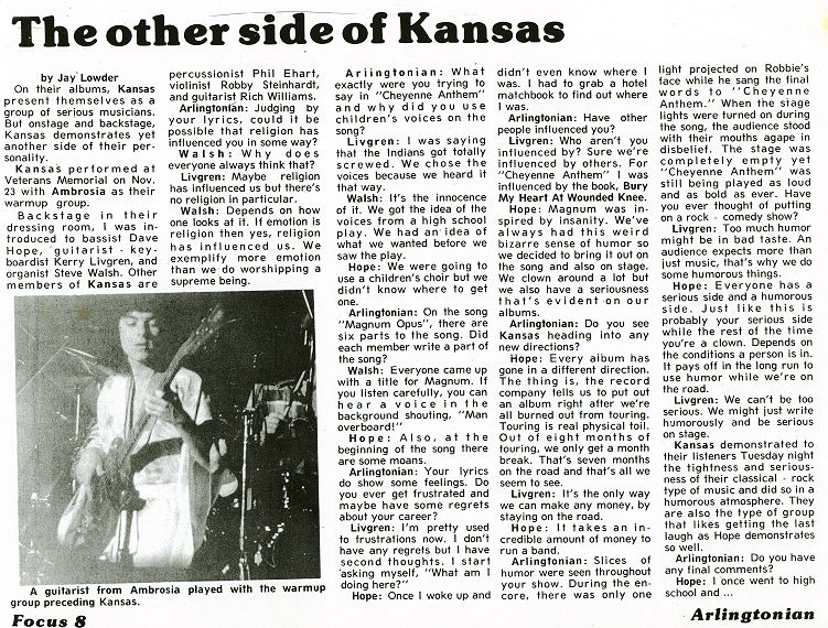 Backstage Interview: Kansas (3/3)
